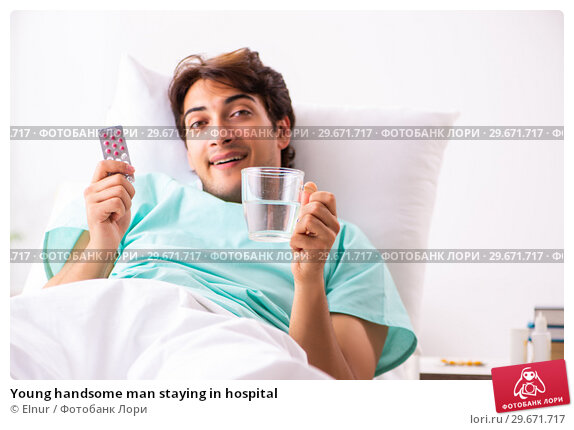 Купить «Young handsome man staying in hospital», фото № 29671717, снято 6 сентября 2018 г. (c) Elnur / Фотобанк Лори