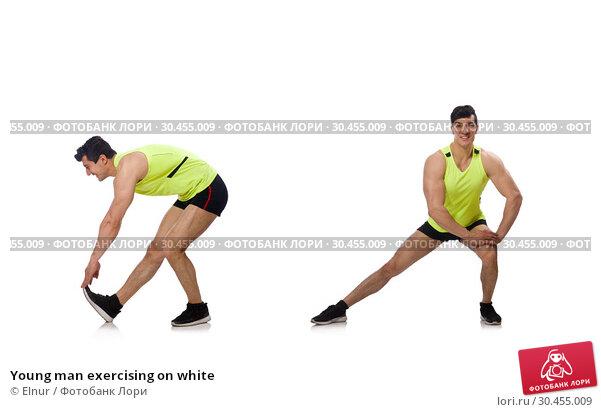 Young man exercising on white. Стоковое фото, фотограф Elnur / Фотобанк Лори