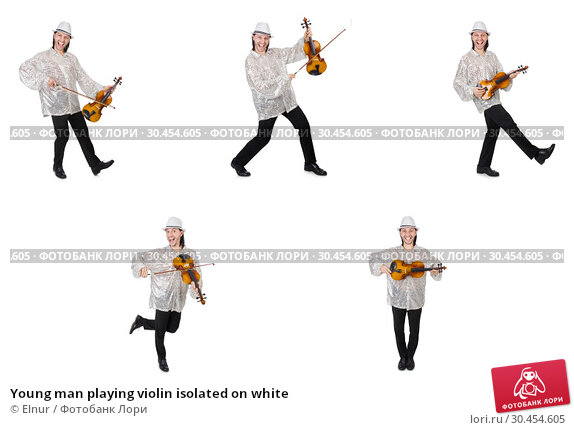 Young man playing violin isolated on white. Стоковое фото, фотограф Elnur / Фотобанк Лори