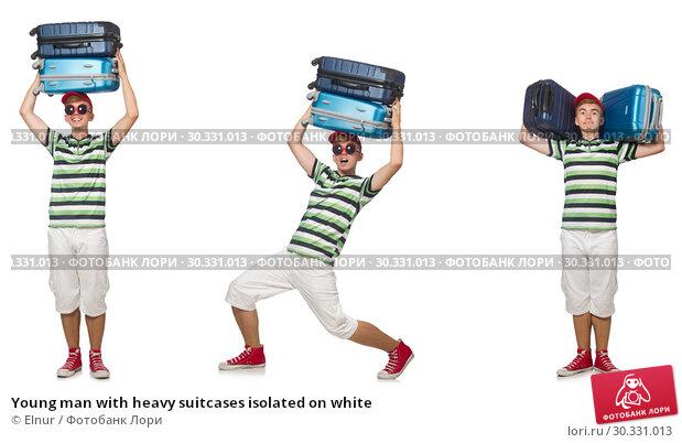 Купить «Young man with heavy suitcases isolated on white», фото № 30331013, снято 19 апреля 2019 г. (c) Elnur / Фотобанк Лори