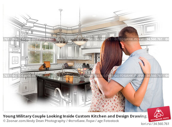 Young Military Couple Looking Inside Custom Kitchen and Design Drawing... Стоковое фото, фотограф Zoonar.com/Andy Dean Photography / age Fotostock / Фотобанк Лори