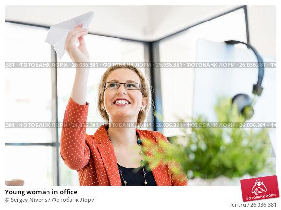 Young woman in office, фото № 26036381, снято 14 декабря 2014 г. (c) Sergey Nivens / Фотобанк Лори