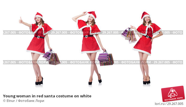 Купить «Young woman in red santa costume on white», фото № 29267005, снято 24 августа 2013 г. (c) Elnur / Фотобанк Лори