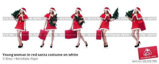 Купить «Young woman in red santa costume on white», фото № 29272705, снято 24 августа 2013 г. (c) Elnur / Фотобанк Лори