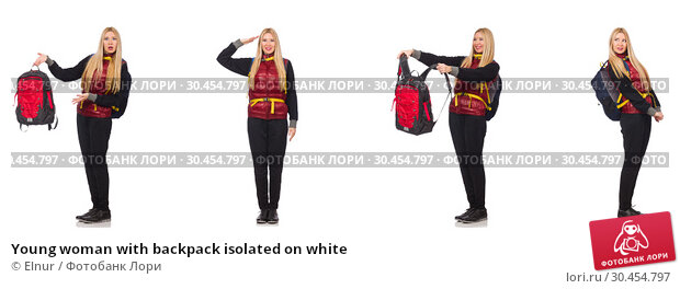 Young woman with backpack isolated on white. Стоковое фото, фотограф Elnur / Фотобанк Лори