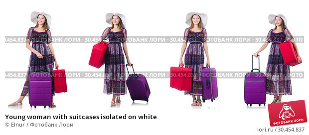 Young woman with suitcases isolated on white. Стоковое фото, фотограф Elnur / Фотобанк Лори