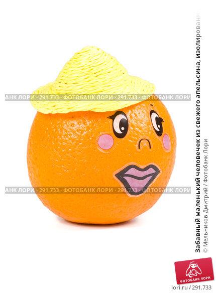 Забавный маленький человечек из свежего апельсина, изолированный на белом фоне, фото № 291733, снято 2 мая 2008 г. (c) Мельников Дмитрий / Фотобанк Лори