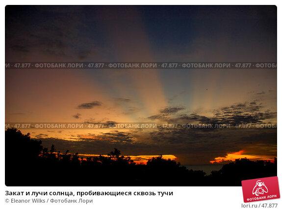 Купить «Закат и лучи солнца, пробивающиеся сквозь тучи», фото № 47877, снято 23 июня 2007 г. (c) Eleanor Wilks / Фотобанк Лори
