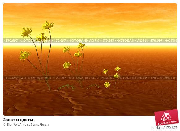Закат и цветы, иллюстрация № 170697 (c) ElenArt / Фотобанк Лори