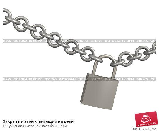 Купить «Закрытый замок, висящий на цепи», иллюстрация № 300765 (c) Лукиянова Наталья / Фотобанк Лори