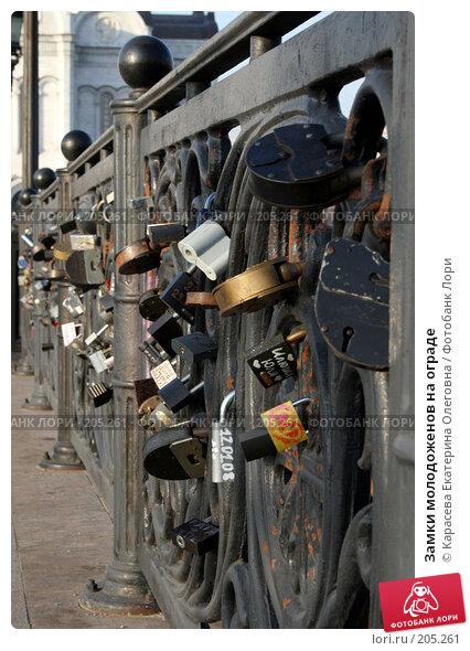 Купить «Замки молодоженов на ограде», фото № 205261, снято 18 января 2008 г. (c) Карасева Екатерина Олеговна / Фотобанк Лори