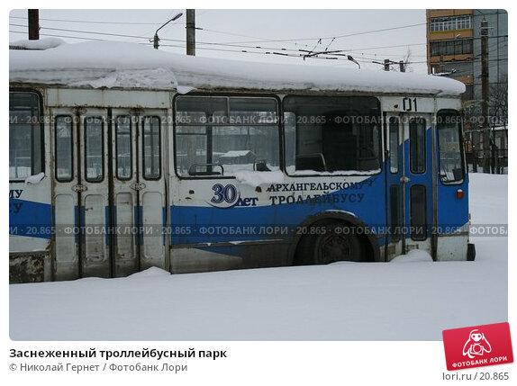 Заснеженный троллейбусный парк, фото № 20865, снято 2 марта 2007 г. (c) Николай Гернет / Фотобанк Лори