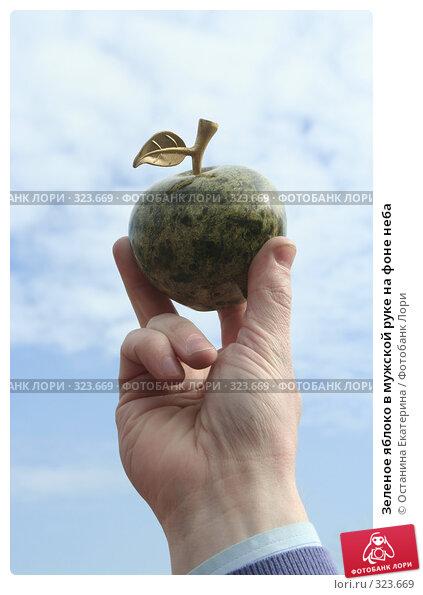 Зеленое яблоко в мужской руке на фоне неба, фото № 323669, снято 15 апреля 2008 г. (c) Останина Екатерина / Фотобанк Лори