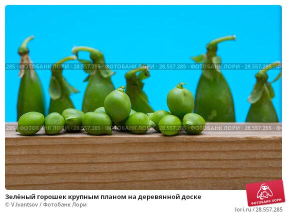 Купить «Зелёный горошек крупным планом на деревянной доске», фото № 28557285, снято 4 июня 2018 г. (c) V.Ivantsov / Фотобанк Лори