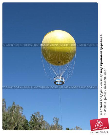 Желтый воздушный шар над кронами деревьев, фото № 68045, снято 21 ноября 2006 г. (c) Марина Грибок / Фотобанк Лори
