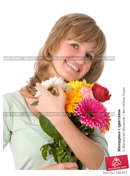 Женщина с цветами, фото № 106017, снято 26 мая 2007 г. (c) Валентин Мосичев / Фотобанк Лори