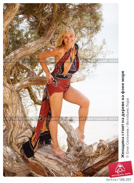Купить «Женщина стоит на дереве на фоне моря», фото № 188397, снято 4 августа 2007 г. (c) Олег Селезнев / Фотобанк Лори