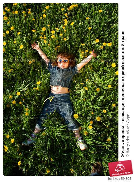 Жизнь хороша! - лежащая девочка в яркой весенней траве, фото № 59805, снято 22 мая 2006 г. (c) Harry / Фотобанк Лори