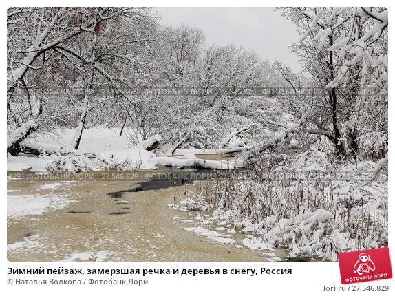 Купить «Зимний пейзаж, замерзшая речка и деревья в снегу, Россия», фото № 27546829, снято 4 февраля 2018 г. (c) Наталья Волкова / Фотобанк Лори