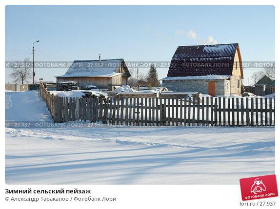Зимний сельский пейзаж, фото № 27937, снято 21 января 2017 г. (c) Александр Тараканов / Фотобанк Лори