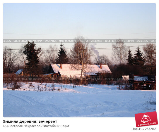 Купить «Зимняя деревня, вечереет», фото № 253965, снято 5 января 2008 г. (c) Анастасия Некрасова / Фотобанк Лори