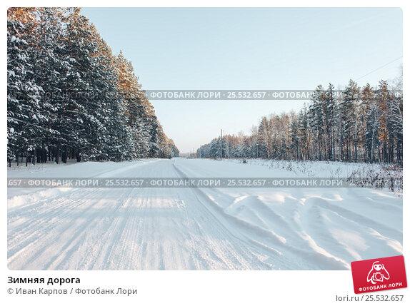 Купить «Зимняя дорога», фото № 25532657, снято 14 января 2017 г. (c) Иван Карпов / Фотобанк Лори