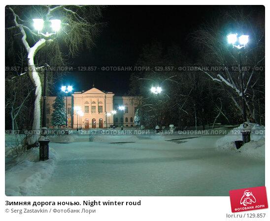 Зимняя дорога ночью. Night winter roud, фото № 129857, снято 22 декабря 2004 г. (c) Serg Zastavkin / Фотобанк Лори