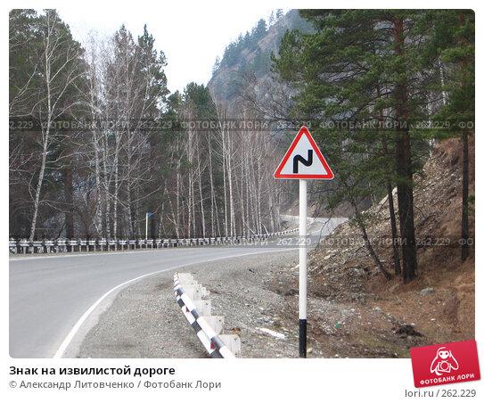 Купить «Знак на извилистой дороге», фото № 262229, снято 12 апреля 2008 г. (c) Александр Литовченко / Фотобанк Лори