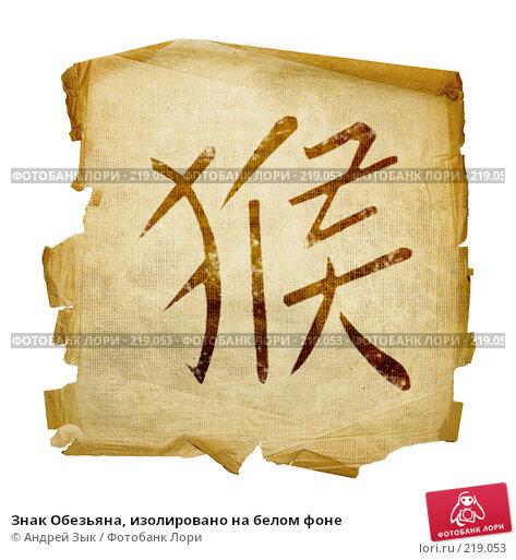 Знак Обезьяна, изолировано на белом фоне, иллюстрация № 219053 (c) Андрей Зык / Фотобанк Лори