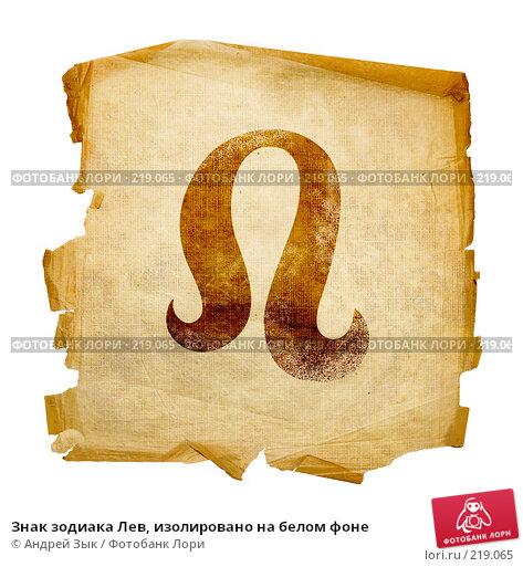 Купить «Знак зодиака Лев, изолировано на белом фоне», иллюстрация № 219065 (c) Андрей Зык / Фотобанк Лори