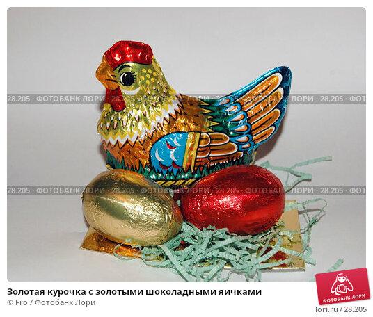 Купить «Золотая курочка с золотыми шоколадными яичками», фото № 28205, снято 29 марта 2007 г. (c) Fro / Фотобанк Лори