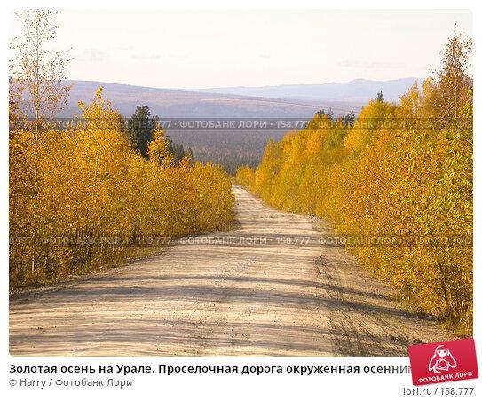 Золотая осень на Урале. Проселочная дорога окруженная осенним лесом, фото № 158777, снято 23 сентября 2007 г. (c) Harry / Фотобанк Лори