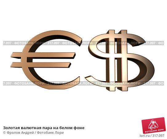 Золотая валютная пара на белом фоне, фото № 317097, снято 24 января 2017 г. (c) Фролов Андрей / Фотобанк Лори