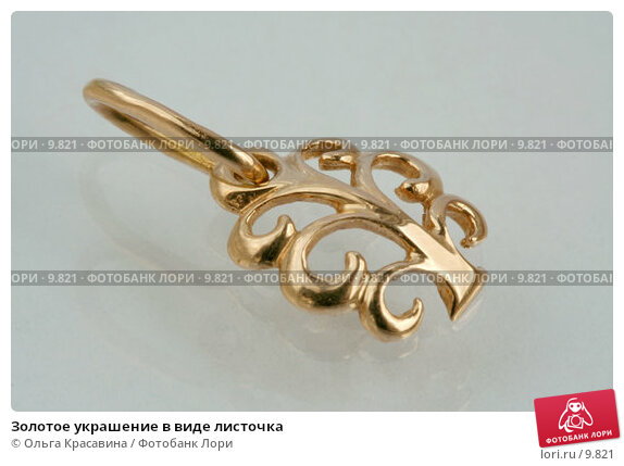 Золотое украшение в виде листочка, фото № 9821, снято 6 августа 2006 г. (c) Ольга Красавина / Фотобанк Лори