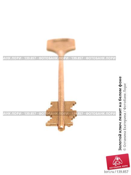 Купить «Золотой ключ лежит на белом фоне», фото № 139857, снято 16 ноября 2007 г. (c) Останина Екатерина / Фотобанк Лори