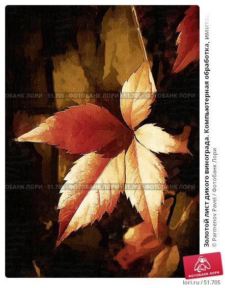 Золотой лист дикого винограда. Компьютерная обработка, имитация живописи, фото № 51705, снято 20 сентября 2006 г. (c) Parmenov Pavel / Фотобанк Лори